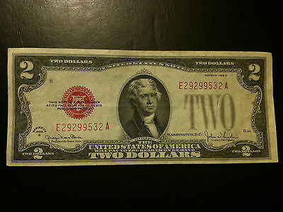 1928 G Two Dollar $2 Note AU About UNC Red Seal Currency Small Size Paper Bill