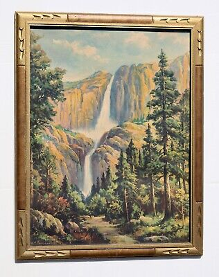 Antique Arts & Crafts Era Frame w Antique Landscape Print Listed Yosemite c1910