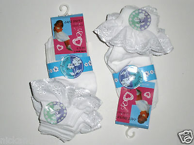 6 PAIRS GIRLS WHITE LACE ANKLE SOCKS from BABY TO TEEN SIZES