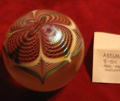 """ABELMAN  PAPERWEIGHT, 1988, RED """"FEATHERS"""" ETC."""