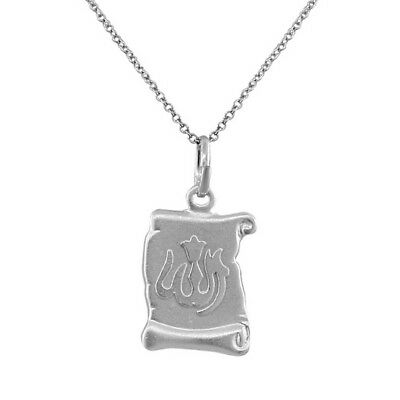 Sterling Silver Muslim Islam God Allah Scroll Pendant Necklace with Chain