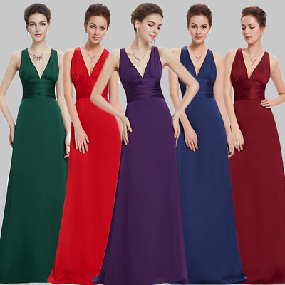 Long Cross Back Bridesmaid Evening Dresses Formal Ball Prom Gown US Seller 09008