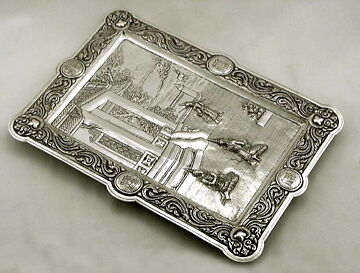 FINEST CHINESE/THAILAND EXPORT SOLID SILVER SALVER, MUSEUM QUALITY, c.1880