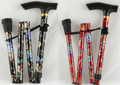 Adjustable Folding Floral Walking Stick Lightweight Foldaway Stick Black or Red