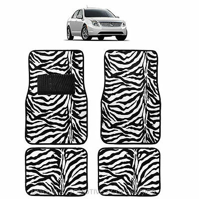 White & Black Zebra Animal Print Carpet Floor Mats 4Pc Set For Cars 1011