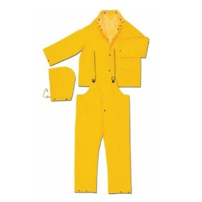 River City 2403 3 Piece Yellow Rain Suit Jacket w/ Hood and Bibpants, Size XL