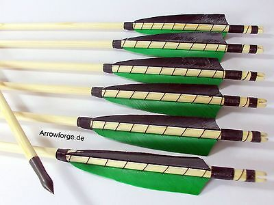 """6x wooden Arrows 5"""" Shield Green self-nock, northern pine, 50-55# History Point"""
