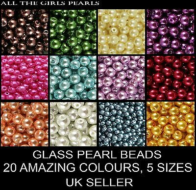 *CLEARANCE* GLASS PEARL Round BEADS 400x4mm 200x6mm 100x8mm 50x10mm 20x12mm