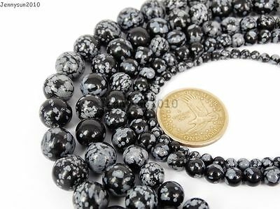 Natural Snow Flake Obsidian Gemstone Round Beads 15.5'' 4mm 6mm 8mm 10mm 12mm