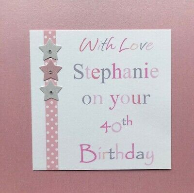 Feesten Speciale Gelegenheden C179 Large Personalised Birthday Card Custom Made For Any Name Pink Roses