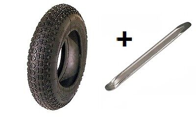 """Wheelbarrow Tyre And Innertube Inner Tube 3.50-8 Replacement And 12"""" Tyre Lever"""