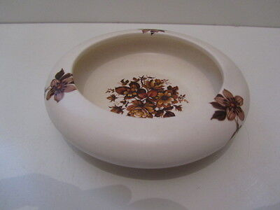 Purbeck Gifts Poole Dorset Trinket Dish/ashtray Brown Flowers