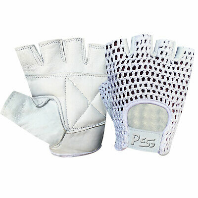 Padded mesh fingerless leather weight lifting training wheel chair gloves 404