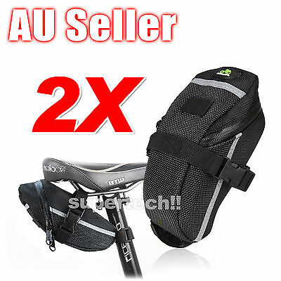 2x New Cycling Bicycle Bike Saddle Outdoor Pouch Back Seat Bag Black