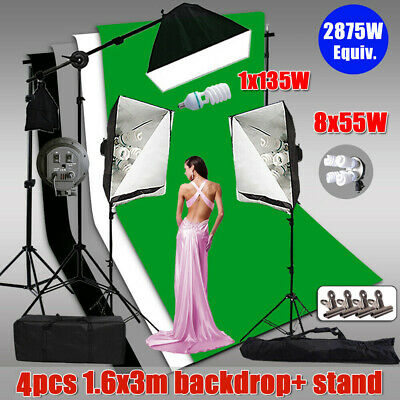 Photography Continuous Softbox Lighting Boom Light &Screen 3 Backdrops Stand Kit