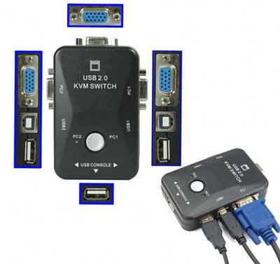 2-Port USB 2.0 MONITOR VIDEO VGA KVM Switch Switchbox for Control 2 Computers PC
