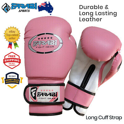 Boxing gloves pink kids girls 6 oz sparring punching bag mitt junior gloves
