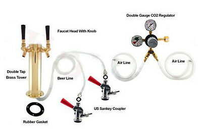 Double Tap Brass Tower Refrigerator to Kegerator Conversion Kit - Draft Beer Keg