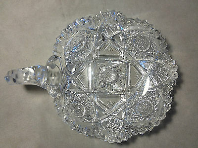 Antique ABP Cut Glass Handled Nappy Signed J. Hoare & Co.