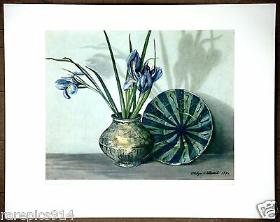 Persian Pottery Still Life by Ethelyn Cosby Stewart Vintage Lithograph 1960