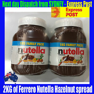 2 x 1KG JAR OF NUTELLA - from SYDNEY Wif Express post - over 100 SOLD 能多益巧克力榛子酱
