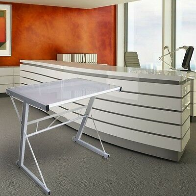 Computer Desk Home Office PC Table Laptop White Glossy MDF Steel Oscar B312035