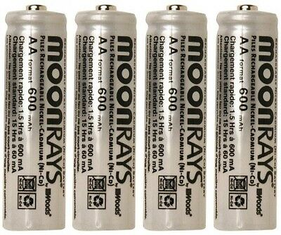 Moonrays Rechargeable NiCd AA Batteries for Solar-Powered Lights, 4-Pack, 97125