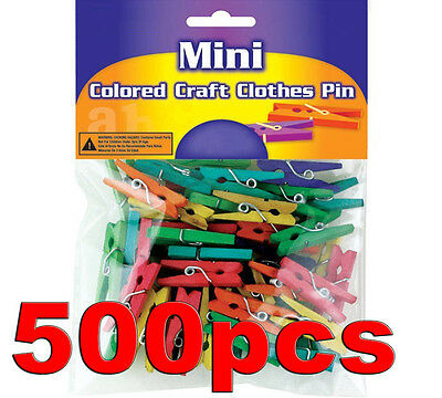 "500 Colored Wood Wooden Mini 1"" inch Spring Clothespins Clothes Pins Crafts Toys"