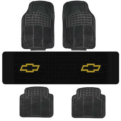 Bl All Weather Floor Mats & Chevy Logo Rear Runner Mat 5Pc Set For Suvs Vans
