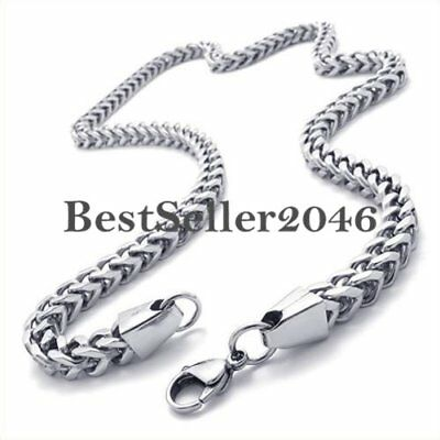 Mechanic Style Men's Link Chain Stainless Steel Polished Necklace Silver 22 Inch