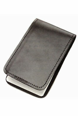 Police Black Leather Memo Book Note Pad Holder Cover Case Sleeve