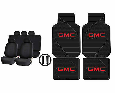 Solid Black Dbl Stitch Airbag Ready Seat Cover & Gmc Factory Rubber Mats Set