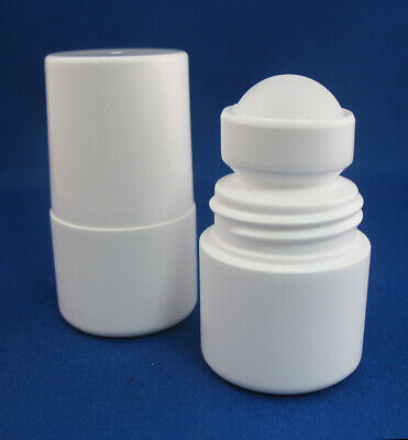 100 Empty WHITE 2oz 60ml HDPE Roll On Rollon Bottle Cap Ball Pain Relief