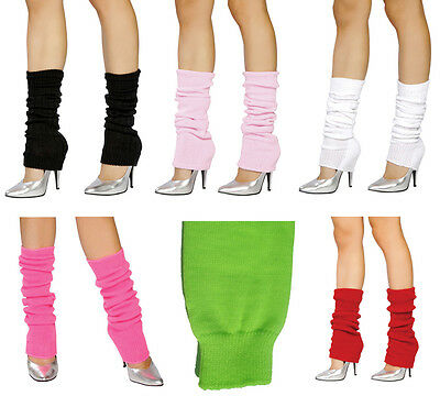Knee High Knit Leg Warmers Thick Costume Dancer Hosiery Retro 80s Neon LW101