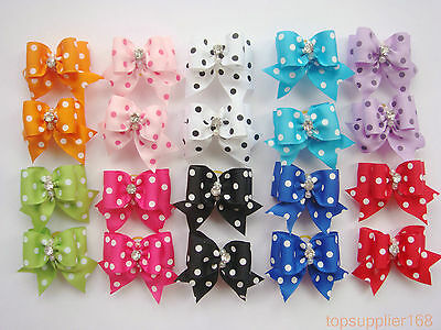 100 x dog cat puppy hair bow ribbon wholesale lots  headdress flower pets gift