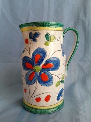 """Hand Painted Floral Italian Ceramic Pitcher Green Yellow Trim 7.75"""" Tall"""