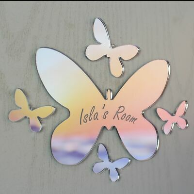 Butterfly Mirror Set Personalised Door Name Plaque Boy Girls Bed Room Sign