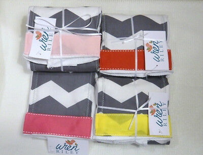 NWT Gray Chevron Burp Cloth Red Yellow Pink Maroon Teal Ribbon Baby Shower Gift