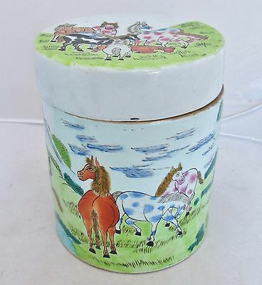 "7"" Chinese Famille Rose Tea Caddy, Round Box or Ginger Jar w/ Tang Style Horses"