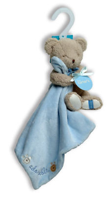 NWT Carters Adorable Tan Plush Bear With Blue Security Blanket Lovey Baby Toy