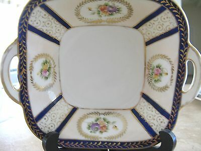 """NORITAKE DECORATIVE  BLUE FLORAL DUAL HANDLED STAMPED WITH """"M"""" NUT/CANDY"""