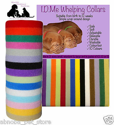 10 I.D.Me Whelping Collars Puppy Kitten Soft Self Fastening Adjustable Washable