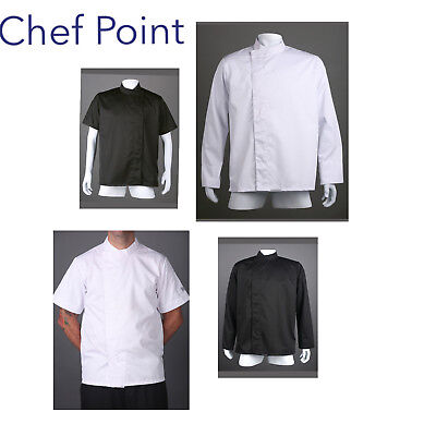 Economy Chef Jacket,unisex, Modern Style, Black Or White,s/s Or L/s