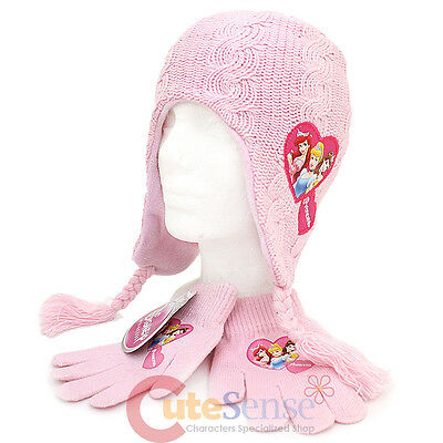 Disney Princess Girls Beanie Gloves Set Knitted Laplander -Pink Cinderella Ariel