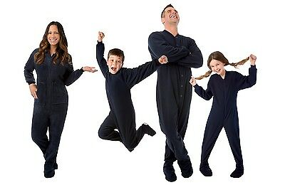 Big Feet Pjs - Navy Blue Fleece Footed Pajamas - Adult, Kids & Infant Onesie