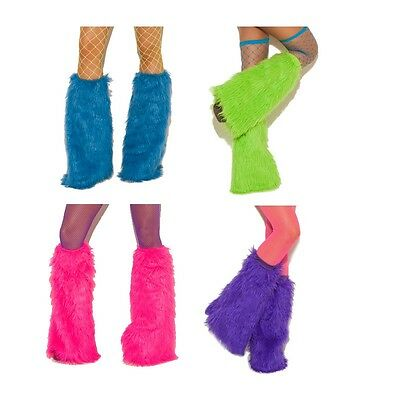 Furry Boot Covers Fuzzy Legwarmers Costume Clubwear Rave Festival Neon 2427