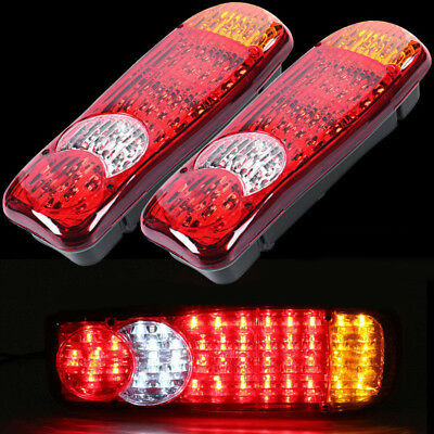 Set Of 2 Led Rear Tail Lights Truck Lorry Trailer Tipper Chassis 24v