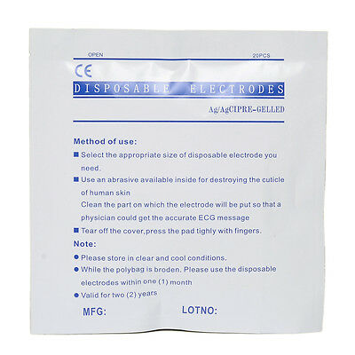 Hot 100pcs(5 package! disposable Electrodes For ECG /EKG machine/Patient Monitor