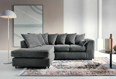 Jumbo Cord Corner Sofa In Grey Black Brown, a Footstool or 2+3 Seater, Swivel