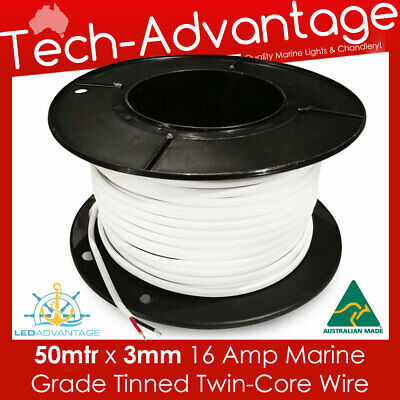 50M X 3mm 16 AMP MARINE TINNED TWO CORE LED WIRE/ELECTRICAL CABLE ROLL - BOAT